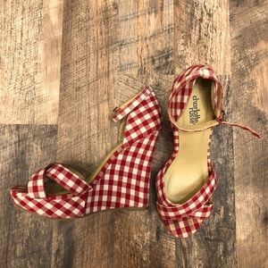 Gingham ankle strap wedge